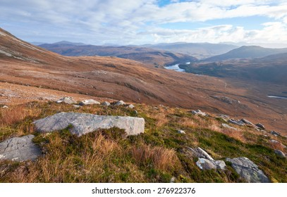 Looking out over Squrr Dubh & Loch Clair in the Scottish Highlands from the summit of Beinn Eighe.