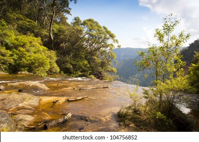 Looking out over Wentworth Falls in the Blue Mountains, Australia near Sydney