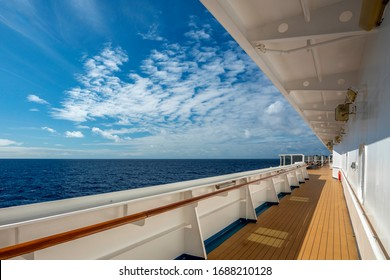 Looking out to sea on a cruise ship