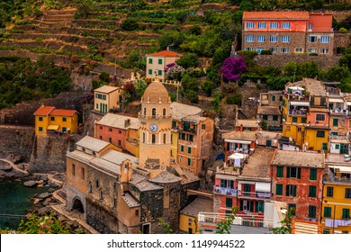 Looking out towards a close-up view of Vernazza, one of the towns of the Cinque Terre along Italy's Ligurian Coast