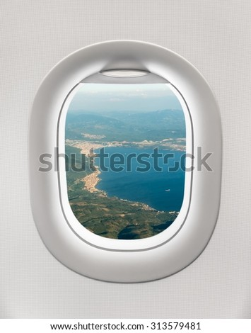 Looking Out Window Plane Sea Bay Stock Photo Edit Now 313579481