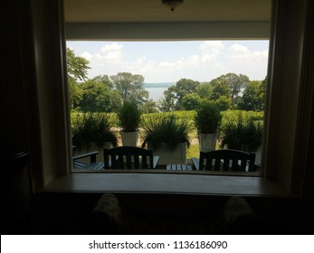 looking out window at plants and trees and Potomac river