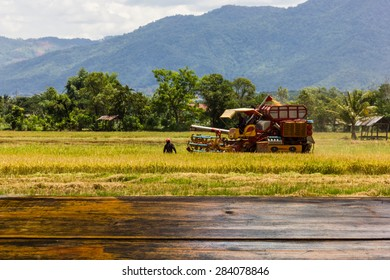 Looking out from a wooden table The blur image of farmers use harvest on the background for a product or other.