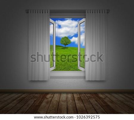 Looking Outside Open Window Stock Photo Edit Now 1026392575
