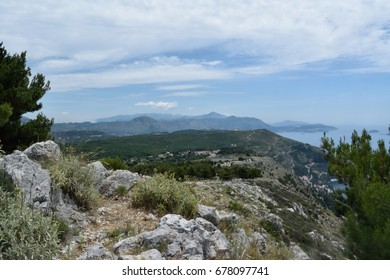 Looking over the Croatian and Bosnian mountains from the old fortress, Dubrovnik, Croatia