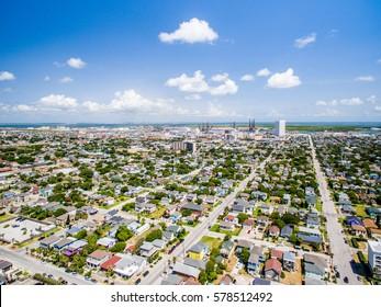 Looking over Galveston Island