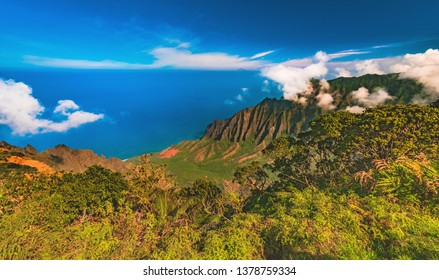 Looking over the Kalalau Valley on the Na Pali Coast from the Kalalau Lookout at 4,000 ft, near Wai'ale'ale in Waimea Canyon State Park on the west side of the island of Kauai, Hawaii, United States.