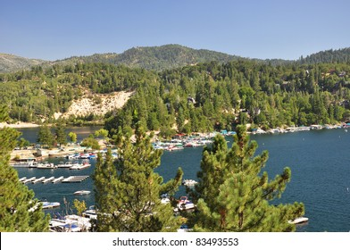 Looking over Lake Arrowhead and the scenic San Bernardino National Forest in Southern California.