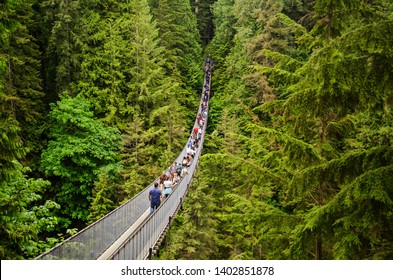 Looking over the large suspension walk bridge in Capilano Vancouver (Vancouver, Canada / 23-05-2018)