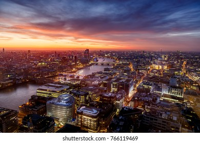 Looking over London skyline at sunset and the river Thames