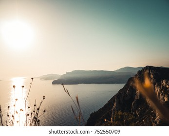 Looking over the mediterranean sea at sunset. Cap Canaille, Cassis, France