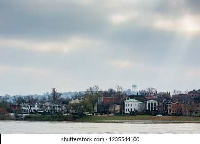 Looking over the Ohio river from Cincinnati to Covington Kentucky landscape urban photography