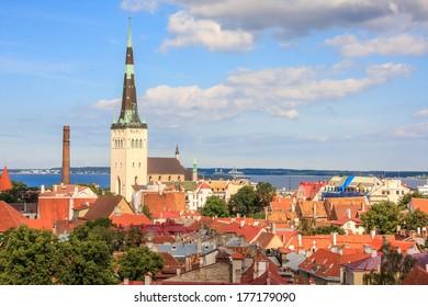 Looking over the rooftops of Tallinn, Estonia