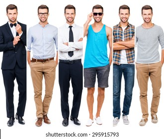 Looking perfect in any style. Collage of smiling young man wearing different clothing and looking at camera while standing against white background