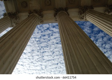 Looking up - pillars in front of the U.S. Supreme Court in Washington D.C./Pillars