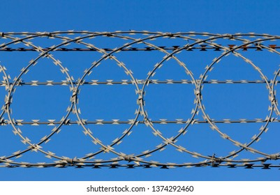 Looking up at razor wire fencing against a clear blue sky