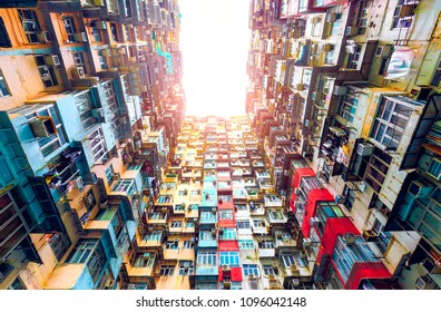 Looking up the residential building in Hong Kong China