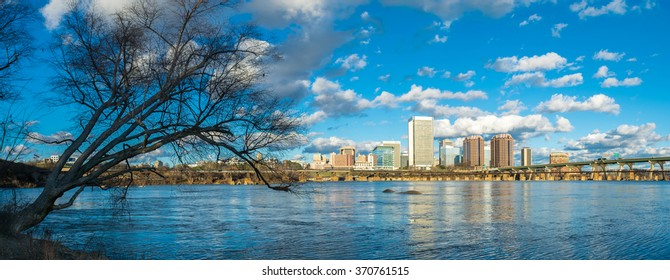 Looking at Richmond, Virginia from the banks of the James River