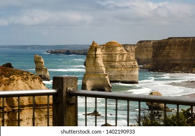 looking at the rocks of the twelve apostels along the Great Ocean Road in south Australia on a stormy day