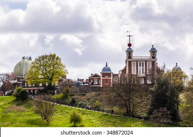 Looking up at the Royal Observatory Greenwich London England which stands on the Prime Meridian.