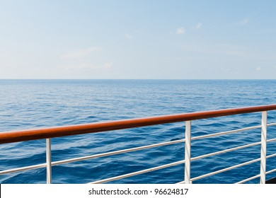 Looking at the sea from the deck of a cruise ship
