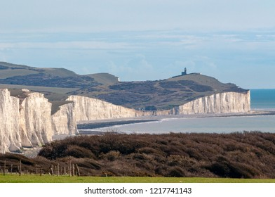 Looking from Seaford Head towards the Belle Tout lighthouse at the other end of the Seven Sisters cliffs