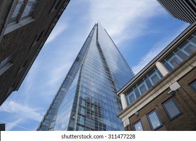 Looking up at The Shard, in London, UK. The Shard was completed in 2012 and stand's 306m tall. It is currently the tallest building in London and the European Union.