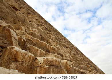 Looking up the side of the Great Pyramid of Cheops in Giza, near Cairo, Egypt.