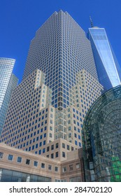 Looking up at the skyscrapers of Battery park city community. The One WTC tower is seen on the right - April 2, 2015, Battery park city, Manhattan, New York City, NY, USA