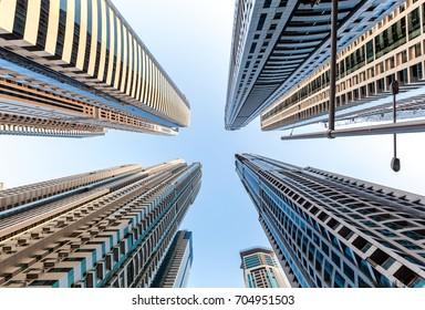 Looking at skyscrapers in Dubai