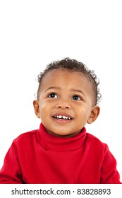 Looking Up Smiling Adorable African American Boy on Isolated White Background