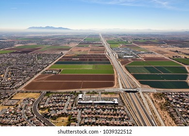 Looking south along the 303 freeway west of Phoenix, Arizona from above