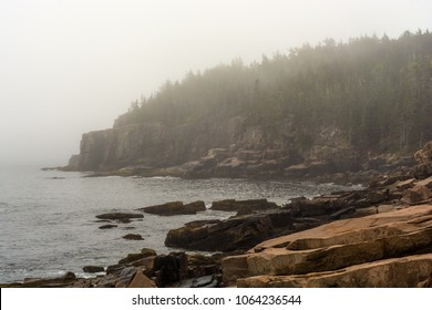 Looking south down the Acadia National Park Shoreline on a foggy morning in Maine, New England