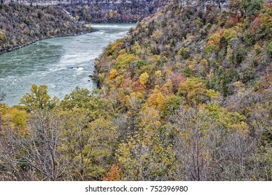 Looking south down the Niagara River Gorge towards the Whirlpool Rapids where the Gorge turns to the left. Image captured on the first day of November.