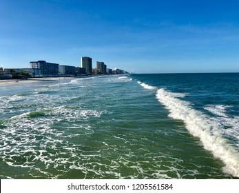 Looking south over the Atlantic Ocean in Daytona Beach Shores Florida.