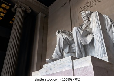 Looking up at the statue of Abraham Lincoln at the Lincoln Memorial in Washington, DC.