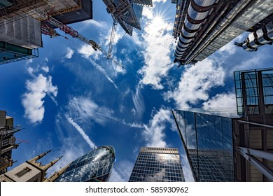Looking up to the sun in the financial heart of the city of London