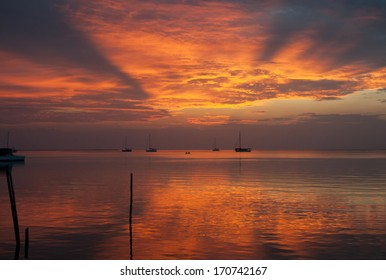 Looking at the sunset in Caye Caulker, Belize