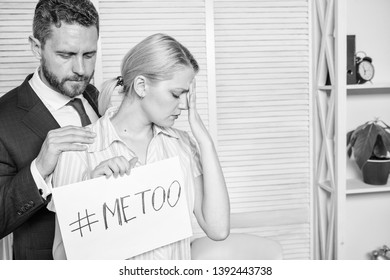 Looking for support. Discrimination assault complaint. Female assault statistic. Girl hold poster hashtag me too while colleague calm down her. Victim assault at workplace. Worker share assault story.