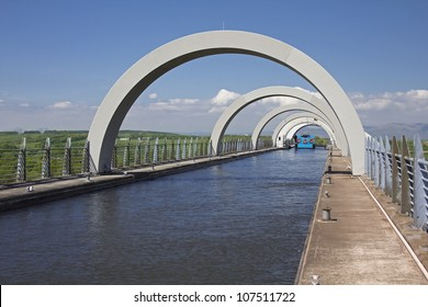 Looking through the arches at top of Falkirk Wheel, Falkirk, Central Scotland, UK.