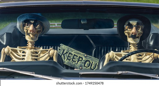 looking through a car windshield at two skeletons, a driver and a passenger, in the front seat