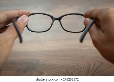 looking through glasses