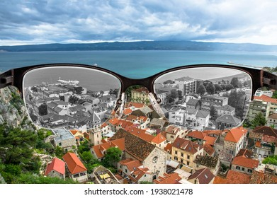Looking through glasses to desaturated roofs and sea in Croatian city focused in women's glasses. Color blindness. World perception during depression. Medical condition. Health and disease concept.