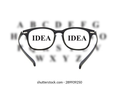 Looking through glasses at idea text