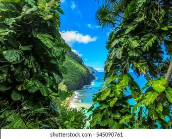 Looking through Nature's Window kalalau trail Kauai Hawaii