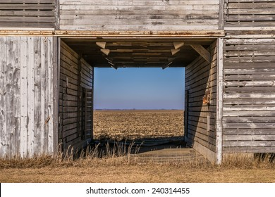 Looking through the old abandoned wooden barn in Creston, Illinois.