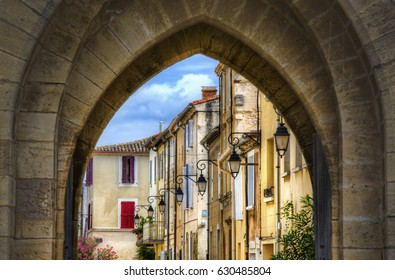 Looking through One of the Southwestern Gates of the Fortified City of Aigues-Mortes, Occitanie, France