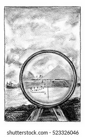 Looking through the sight. Landscape, looking through the sight of a gun. Charcoal illustration.