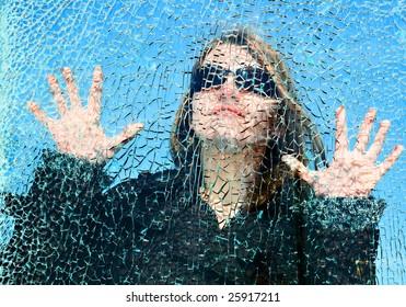 looking through smash glass woman