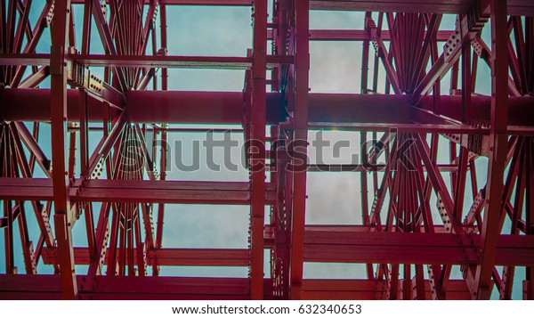 Looking up through a Steamboat Paddle Wheel